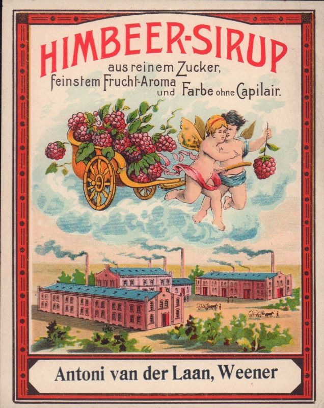 Himbeer-Sirup - Etikett - raspberry syrup label - étiquette  ca1920 #2769