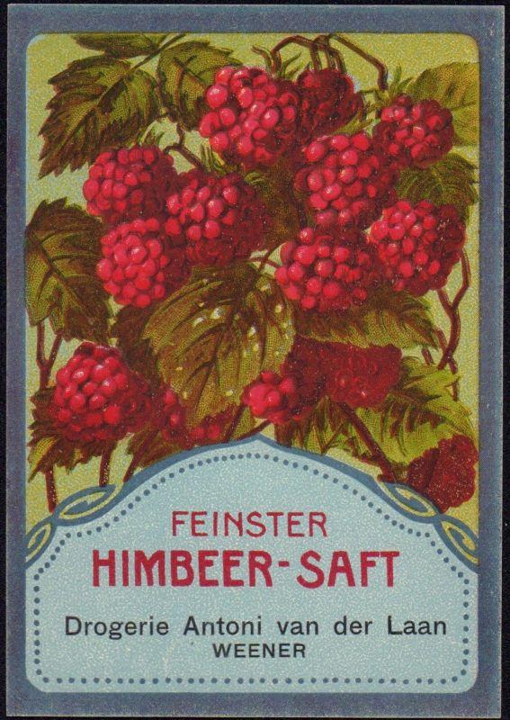 Feinster Himbeersaft - Etikett - raspberry juice label - étiquette  ca1920 #2768
