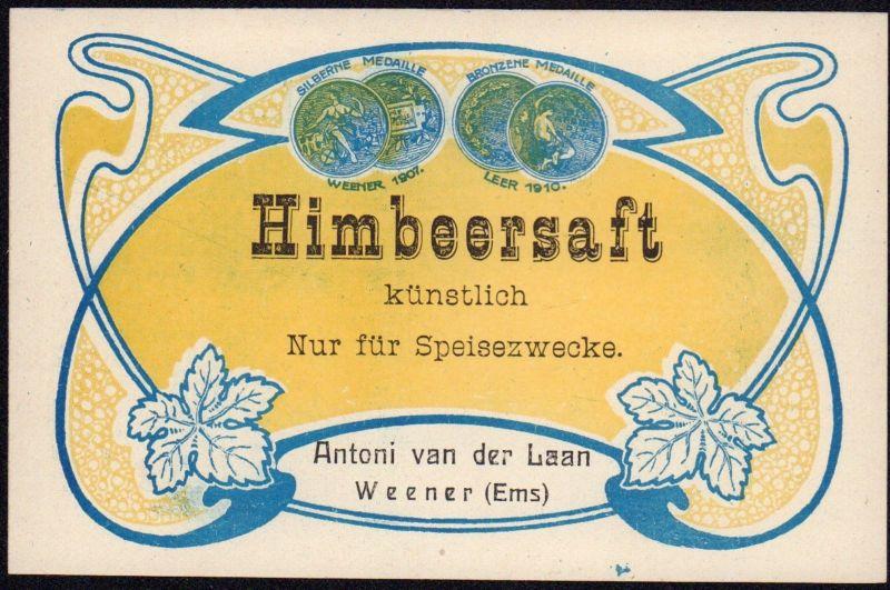 Himbeersaft - Etikett - raspberry juice label - étiquette - ca.1920 #2589