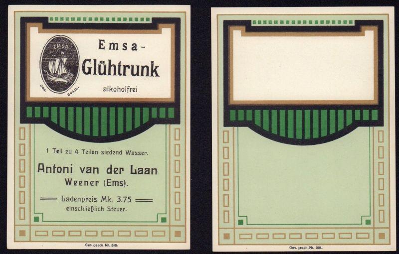 Blankoetikett + Etikett Emsa-Glühtrunk - Art Deco - ca1930 # 2766
