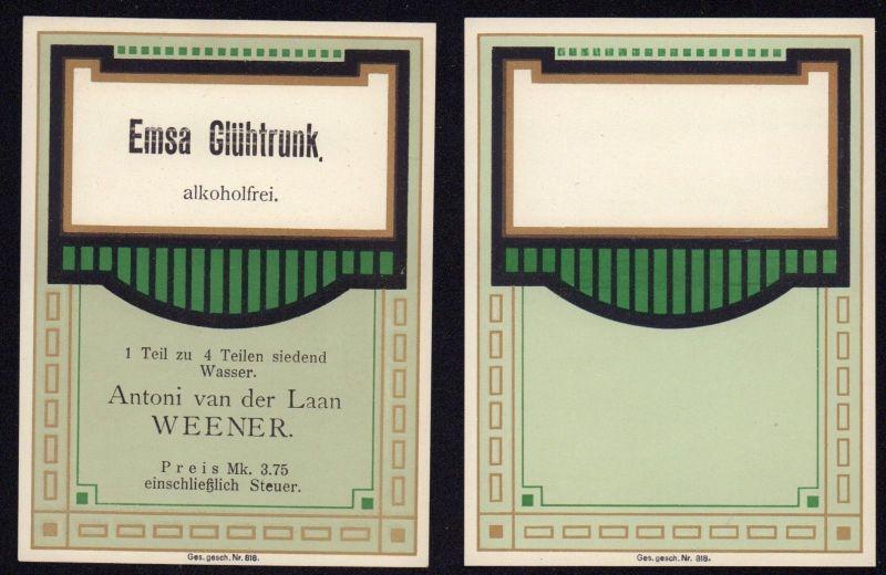 Blankoetikett + Etikett Emsa-Glühtrunk - Art Deco - ca1930 # 2767
