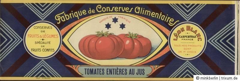 Etikett für Konservendose - ca. 1930 - Tomaten - Chromolithografie - # 196