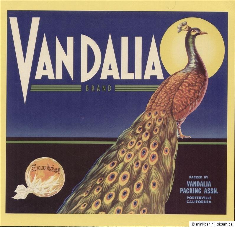 Etikett für Orangen / Orangenkiste von ca. 1940 - Vandalia Brand # 522
