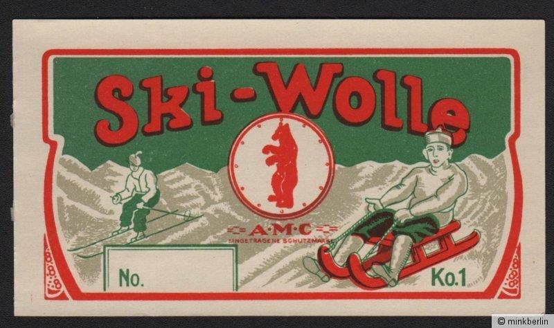 Etikett für Wolle - Ski-Wolle - Deutschland - ca. 1930 # 1453