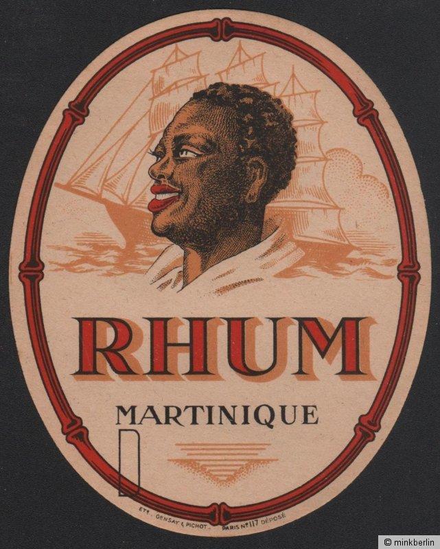 Rum - Rhum Martinique Etikett / rhum label / etiquette de rhum / ~ 1930 #2127