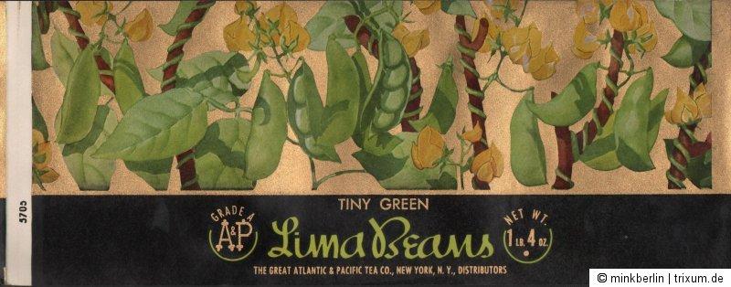 Etikett für Konservendose - Lima Bohnen / Lima Beans, USA, ca.1930  # 937