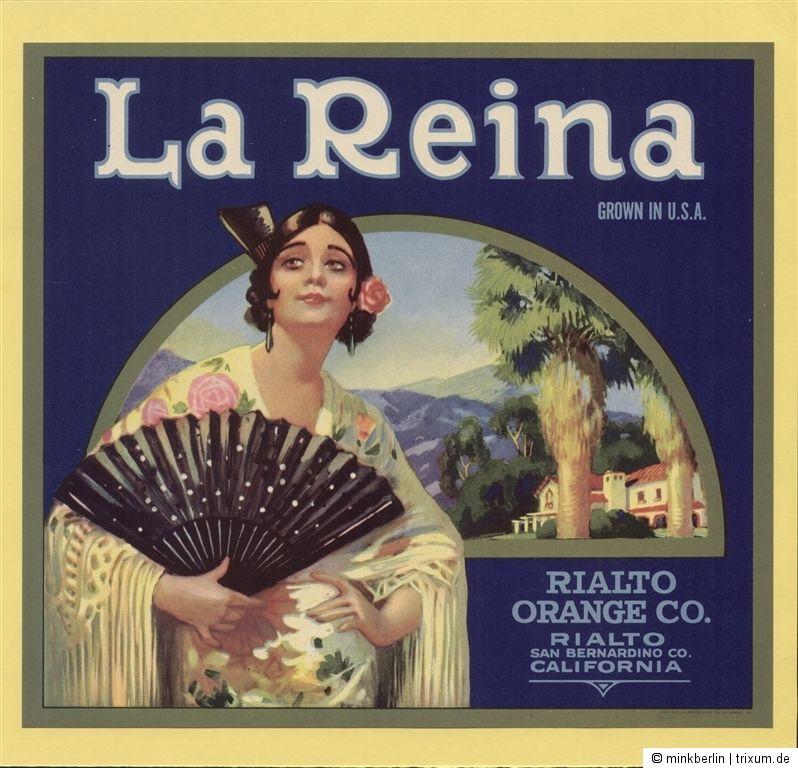Etikett für Orangen / Orangenkiste von ca. 1940 - La Reina  # 508