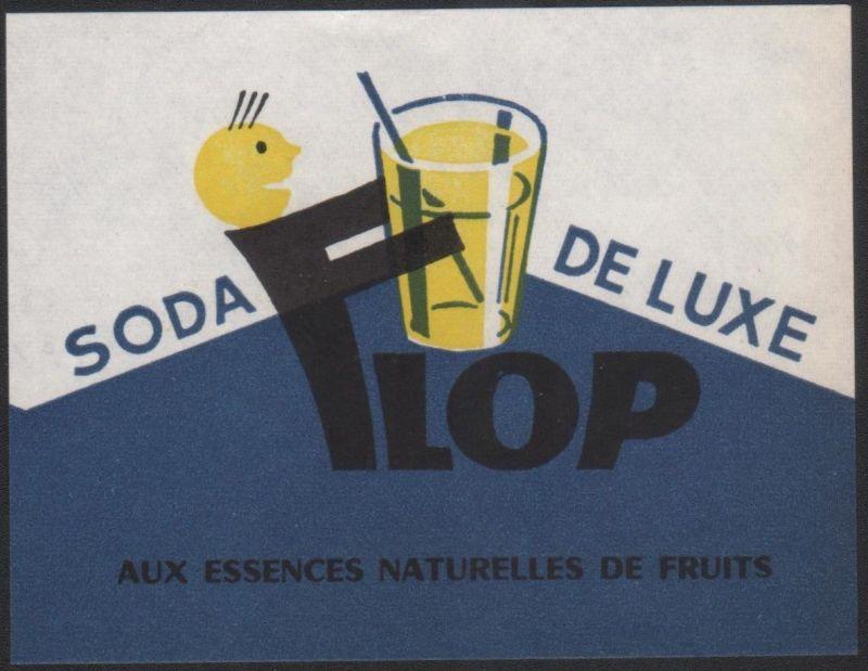 Etikett FLOP Soda de luxe - limonade label - étiquette - ca.1960 #2393