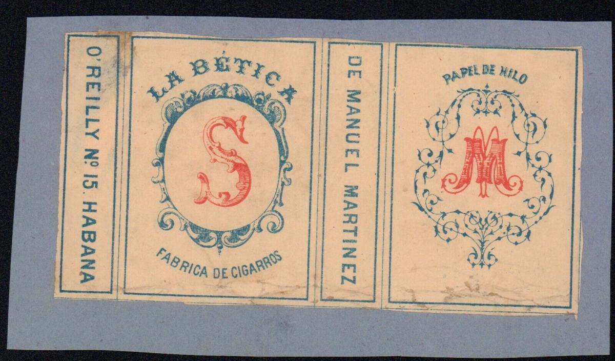 Etikett - La Bética - Manuel Martinez, O'Reilly No. 15, Habana, Cuba, ca.1860