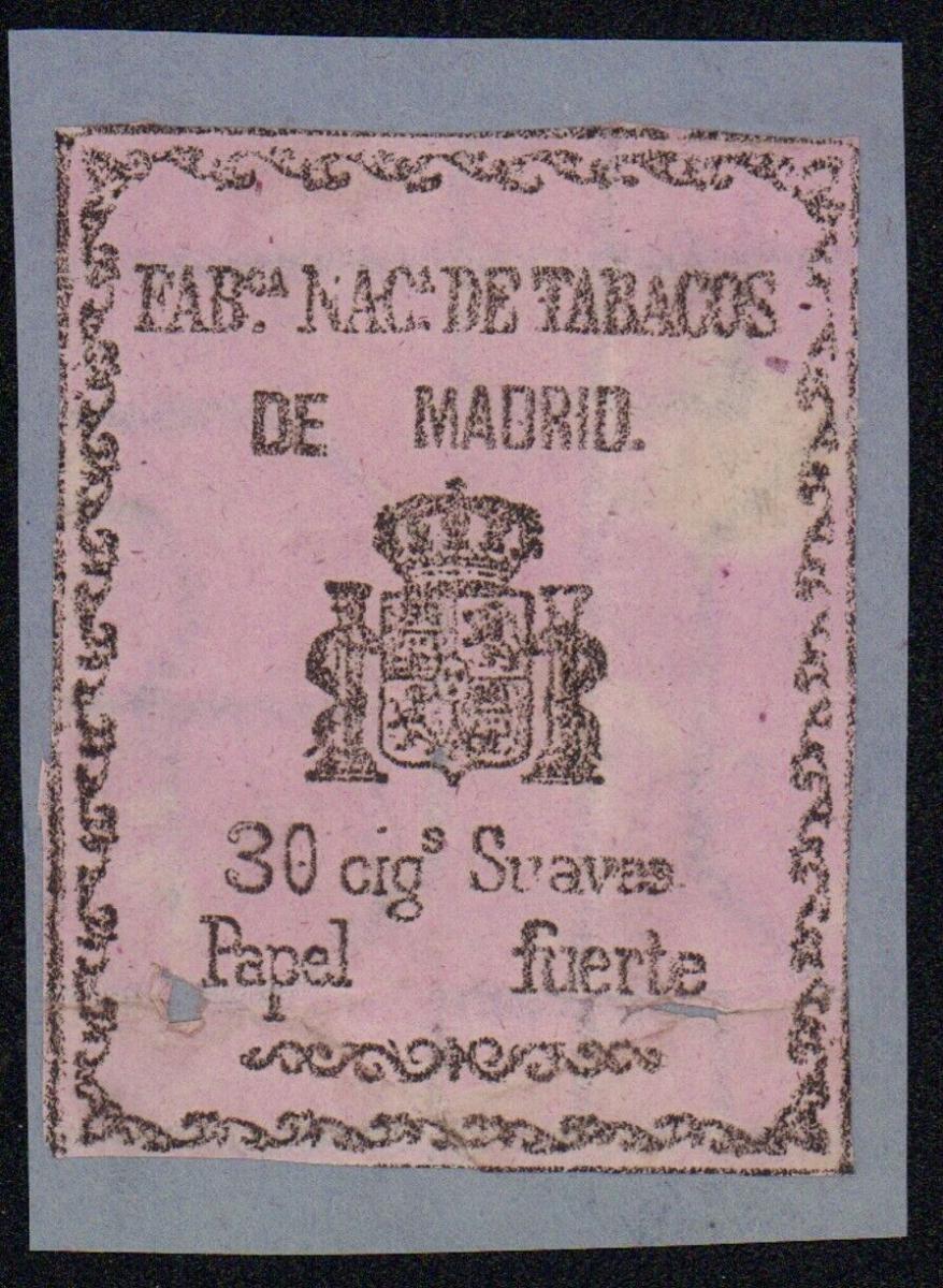 Etikett - Fab. Nac. de Tabacos de Madrid 30 cig.Suaves Papel fuerte Spanien 1870