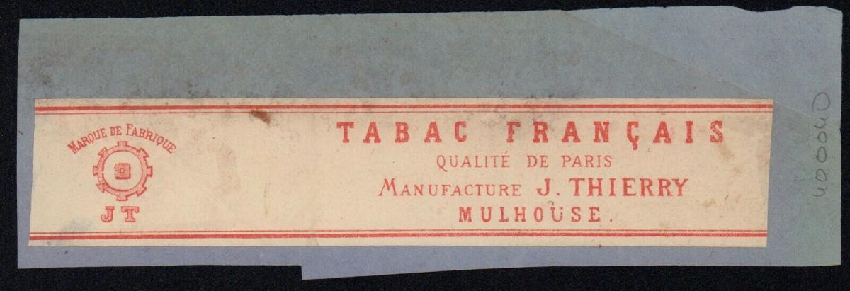 Etikett - Tabac Francais, Qualite de Paris, J. Thierry, Mulhouse, ca.1860