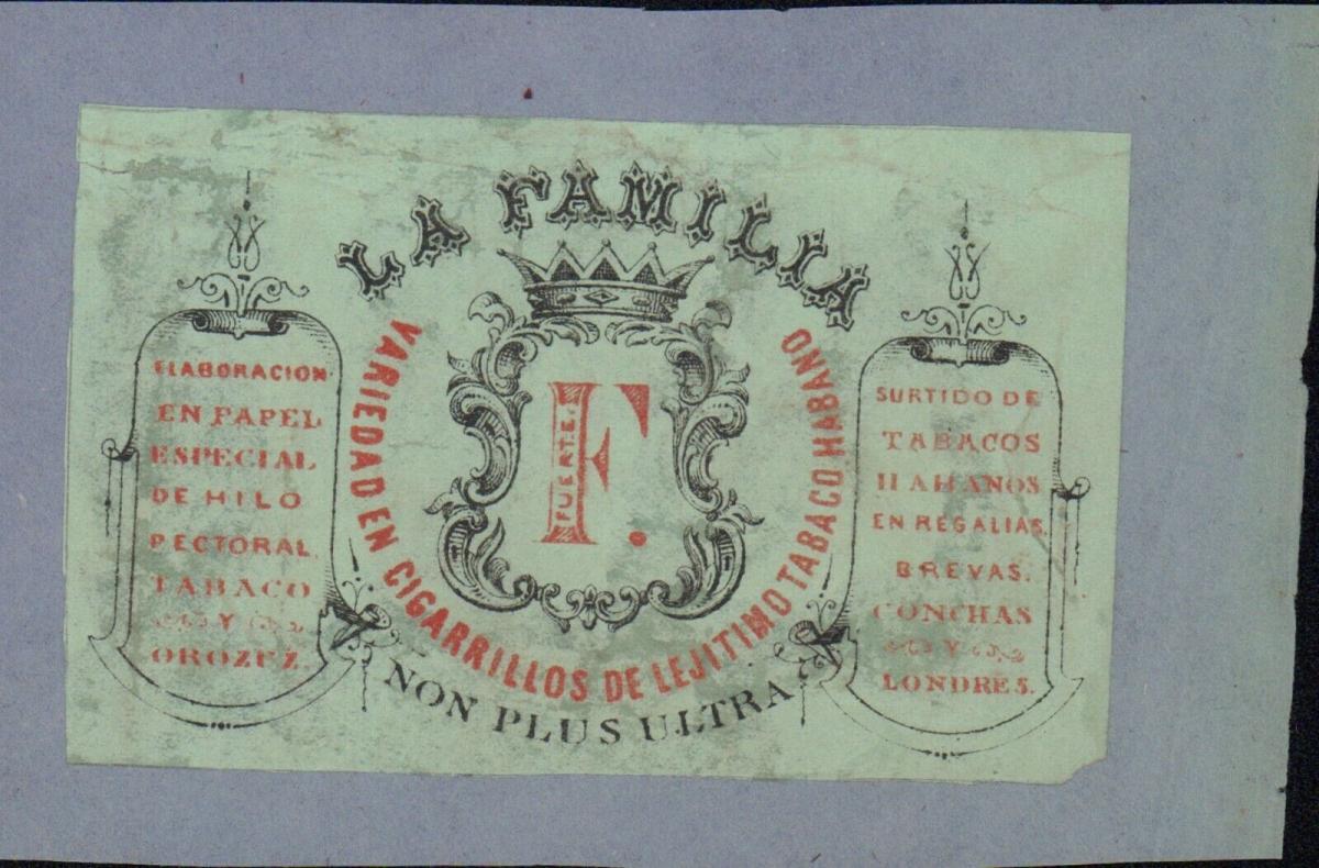 Etikett - La Familia Variedad en Cigarrillos de le Jitimo, Habano, Cuba, ca.1860