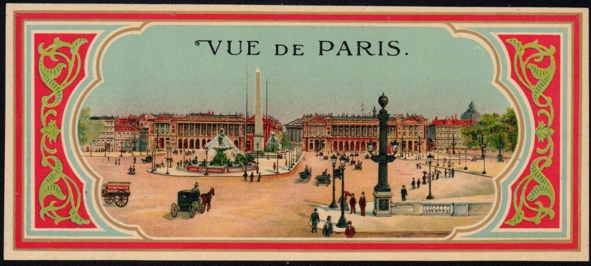 Etikett - Fes / Fez / Tarbusch - Vue de Paris - hat box label / étiquette - # 54