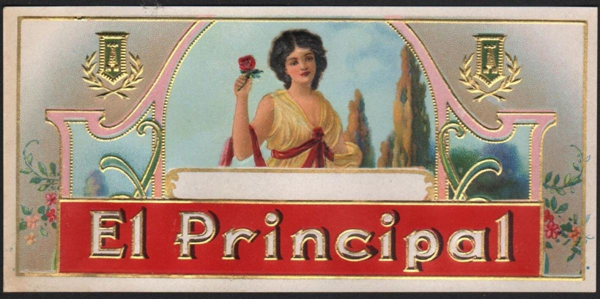 Etikett für Zigarren / Zigarrenkiste - El Principal - cigar box label  # 1961