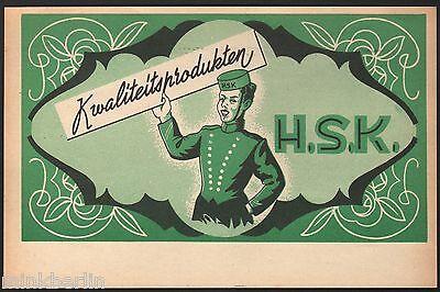Etikett für Kuchen / Gebäck / Biscuit - H.S.K. - Belgien ca. 1930 # 1175