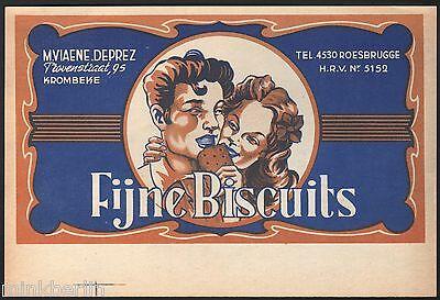 Etikett für Kuchen / Gebäck / Biscuit - Fijne Biscuits - Belgien ca. 1930 # 1174