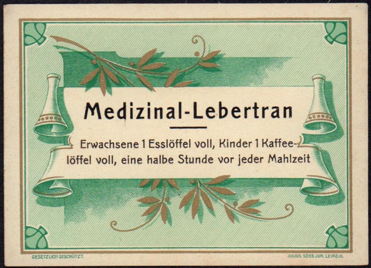 Medizinal Lebertran Etikett - cod liver oil label - étiquette - ca.1920 #2770