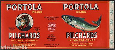 Etikett für Pilchards / Hering / Sardine - Portola Brand - USA ca.1940 # 1024