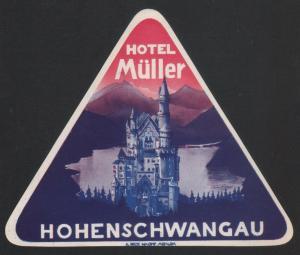 Hotel Kofferetikett / luggage label - Hotel Müller - Hohenschwangau