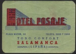 Hotel Kofferetikett / luggage label - Hotel Pasaje - Salamanca, Espana