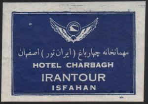 Hotel Kofferetikett / luggage label - Hotel Charbagh Isfahan Iran
