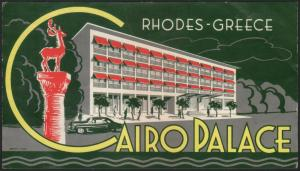 Hotel Kofferetikett / luggage label - Hotel Cairo Palace Rhodes Greece