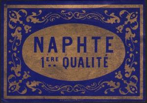 Etikett für Apotheke Naphtalin / Naphte / naphta / Belgien ca.1900 # 1600