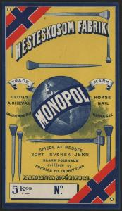 Etikett für Hufnagel / étiquette de Clous a Cheval / horse nail / ca.1930 # 1588