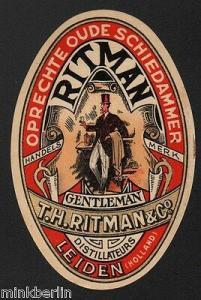 Etikett für Gin  Jenever - Oprechte oude Schiedammer - Holland - ca.1910  # 1054