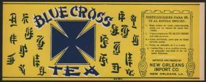 Etikett für Blue Cross Tee / tea label / étiquette de thé - ca.1920 # 1512