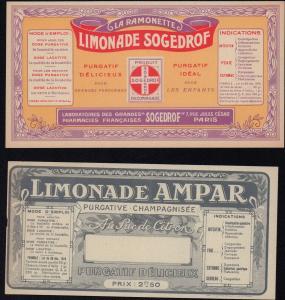 Etikett: Limonade AMPAR & Limonade SOGEDROF - ca.1940 - label - étiquette #2118