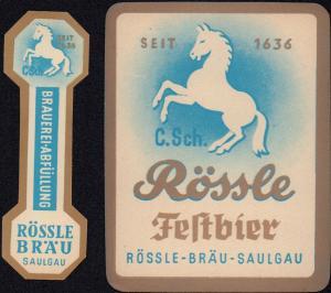2 Rössle Saulgau Festbier Etikett - 2 beer label - étiquette de bière - ca.1960