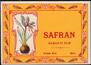 Safran Etikett - saffron label - étiquette de safran - ca.1930 #2660
