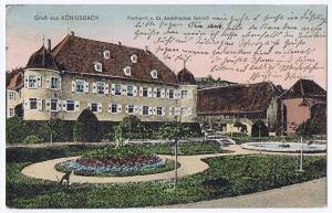 Gruß aus Königsbach,gel.Bahnpost 1910