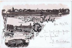 Litho,Gruß aus Hanau,gel.Bahnpost 1896
