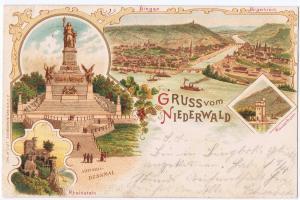 Litho,Gruß aus Frankfurt Niederwald,gel.Bahnpost 1899