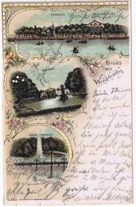 Litho,Gruß aus Wiesbaden,gel.Bahnpost 1902