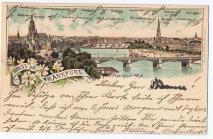 Litho,Gruß aus Frankfurt,gel.Bahnpost 1907