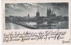 Litho,Gruß aus Köln gel.1898 Bahnpost
