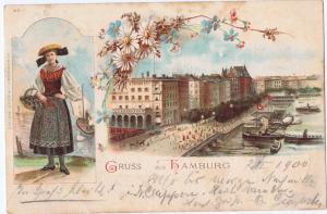 Litho,Gruß aus Hamburg,gel.Bahnpost 1900 Top