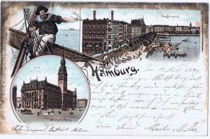 Litho,Gruß aus Hamburg,gel.Bahnpost 1897