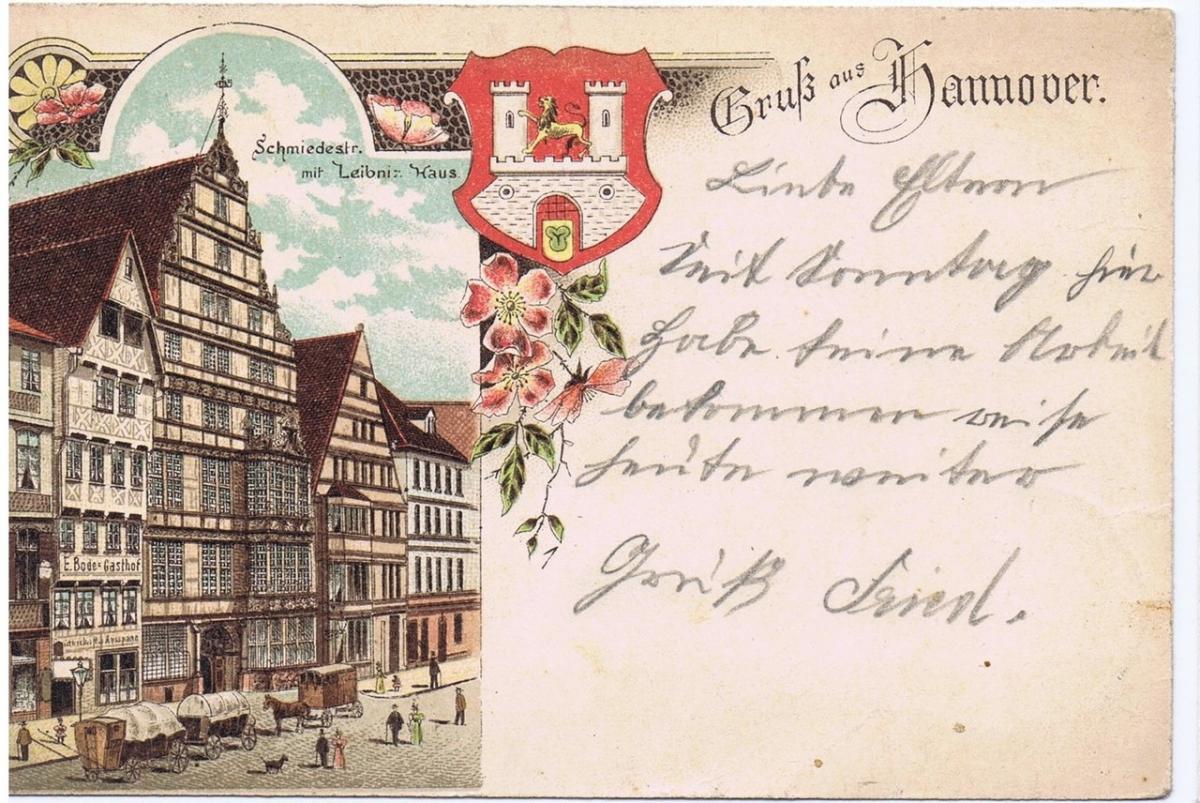 Litho,Gruß aus Hannover,gel.1900 0