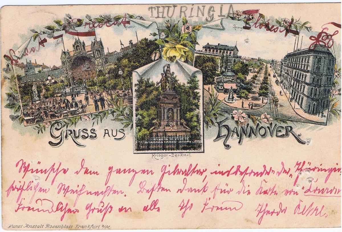 Litho,Gruß aus Hannover,gel.1895 Nadellöcher s.Scan 0