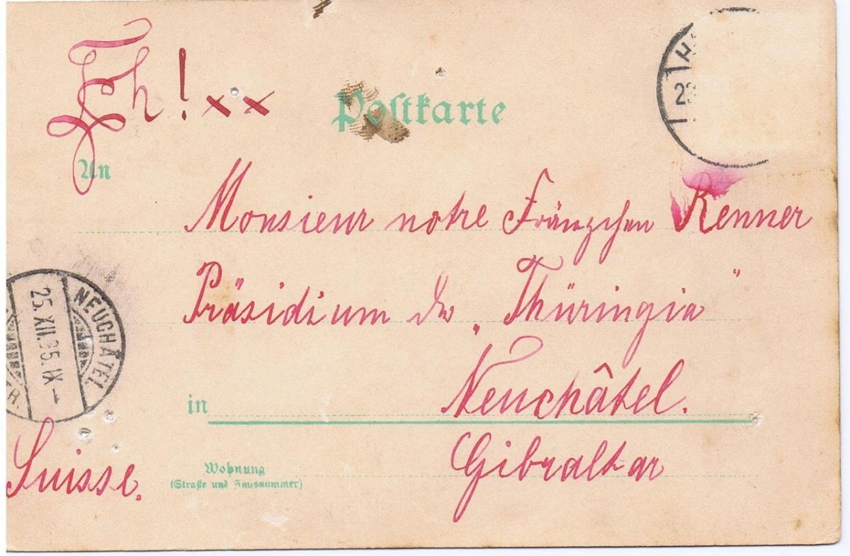 Litho,Gruß aus Hannover,gel.1895 Nadellöcher s.Scan 1