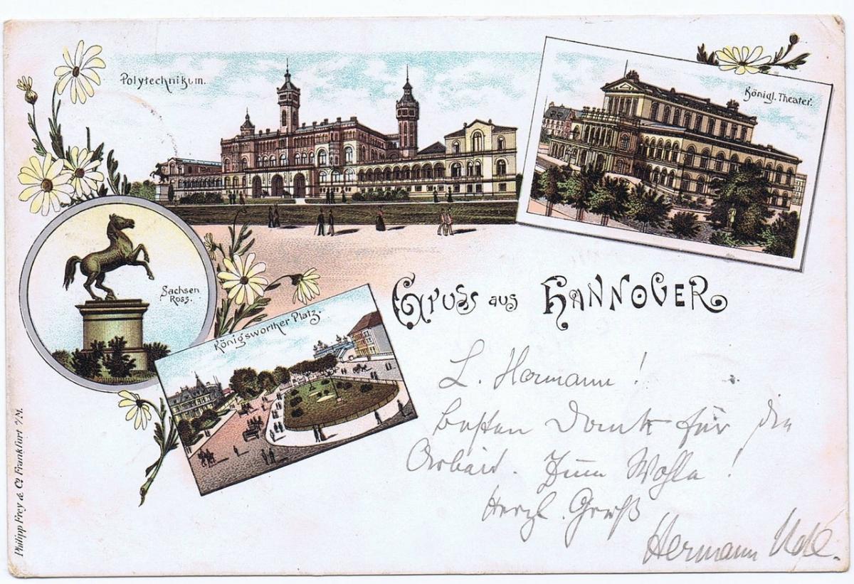 Litho,Gruß aus Hannover,gel.1897  0