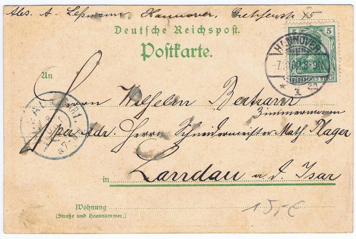 Litho,Gruß aus Hannover,gel.1902 1