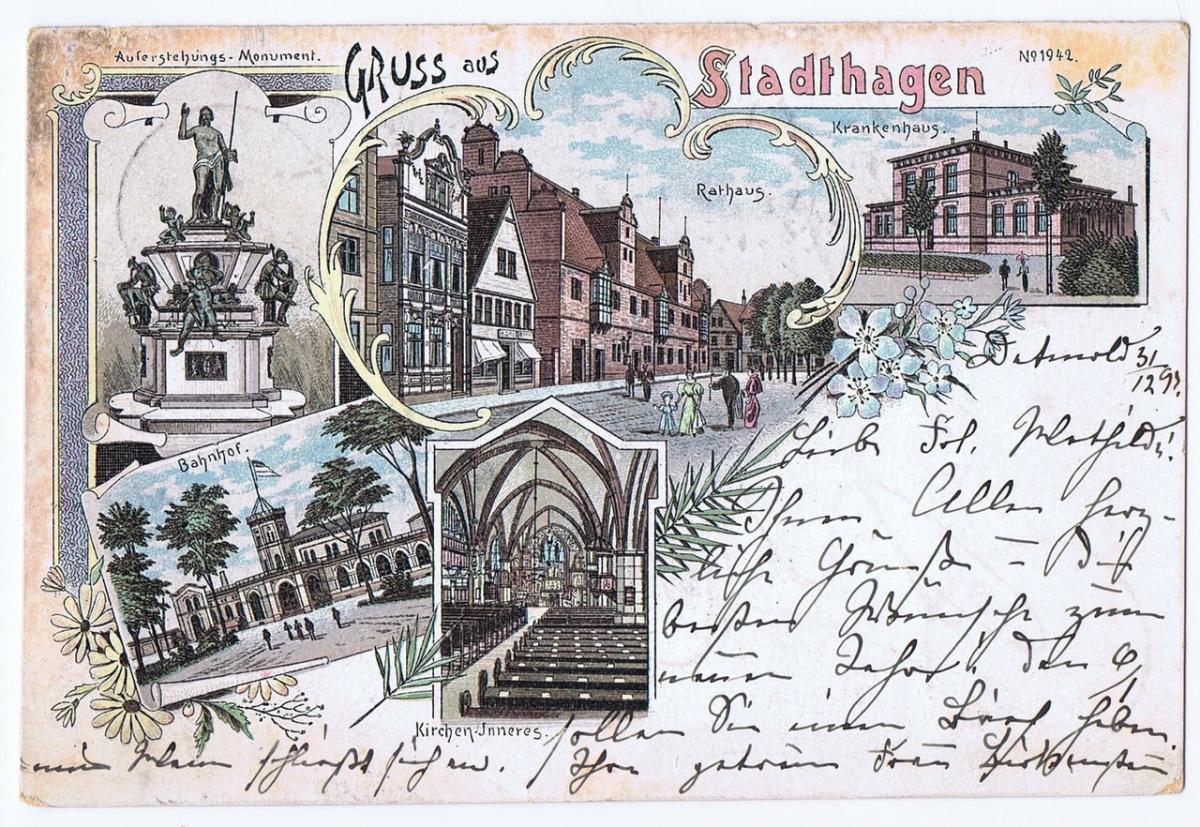 Litho,Gruß aus Stadthagen,gel.1897 0