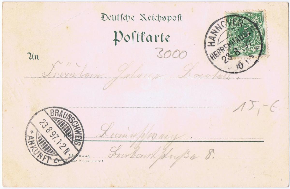 Litho,Gruß aus Hannover,gel.1897 1