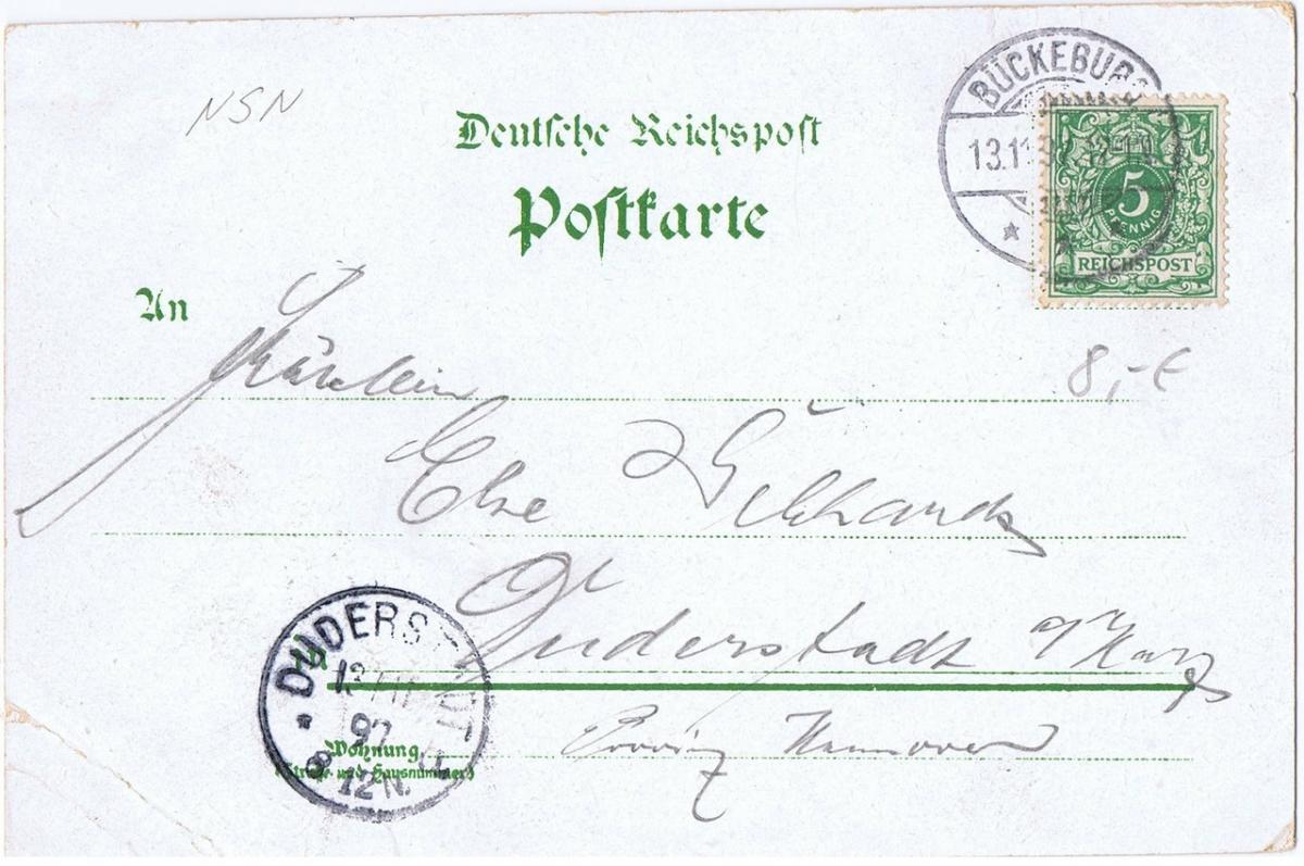 Litho,Gruß aus Bückeburg,gel.1897 1
