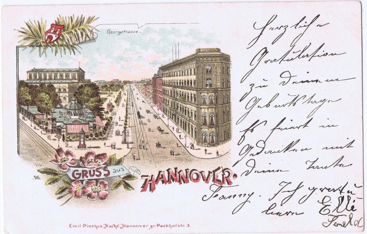 Litho,Gruß aus Hannover,gel.im Brief um 1900 0